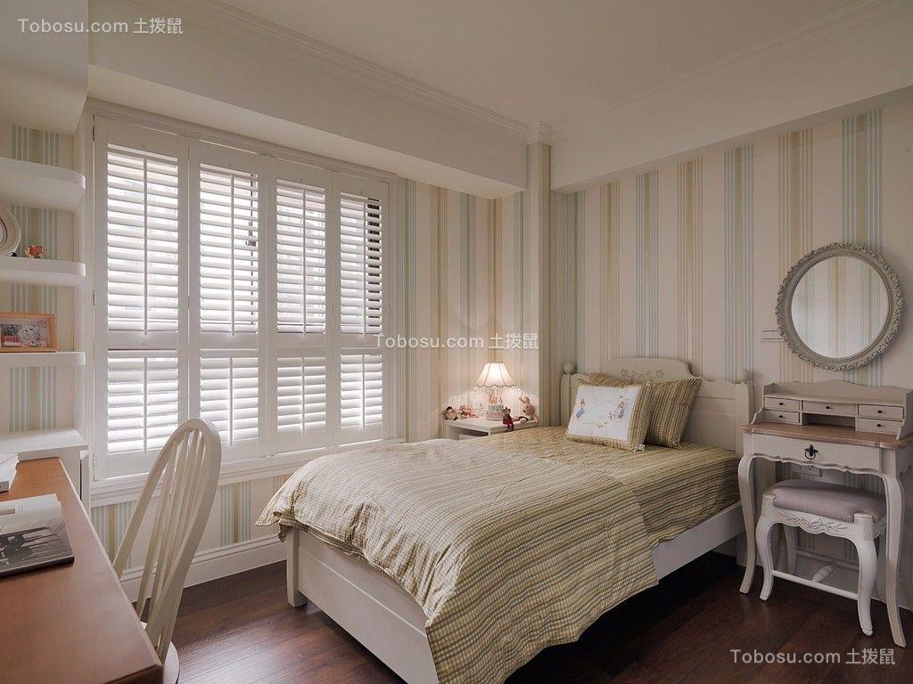 卧室白色梳妆台田园风格装潢图片