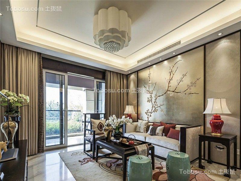 中式风格95平米三室两厅新房装修效果图