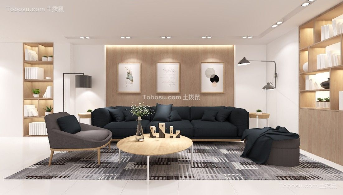 北欧风格128平米三室两厅新房装修效果图