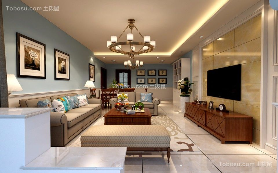 美式风格118平米三室两厅?#36335;?#35013;修效果图