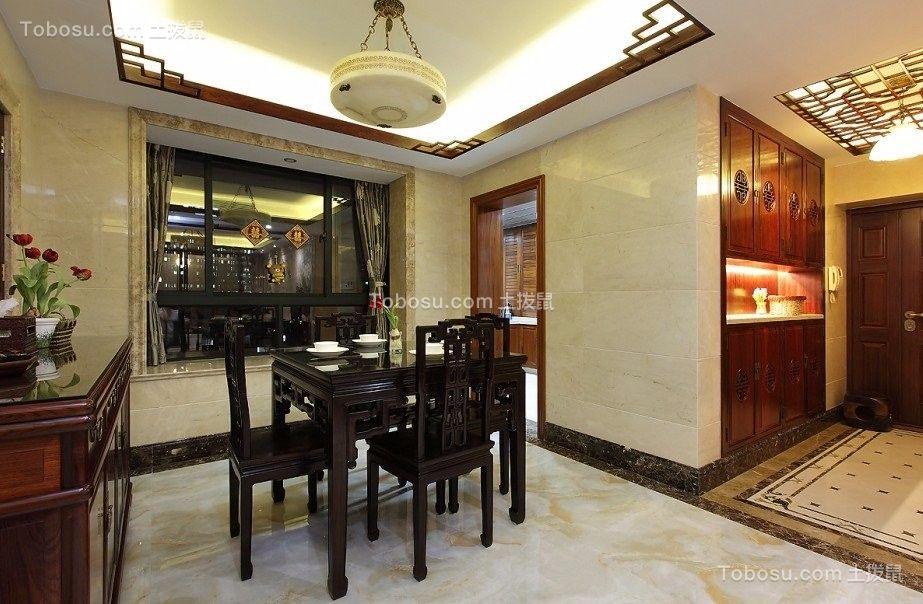 餐厅白色灯具新中式风格装修效果图