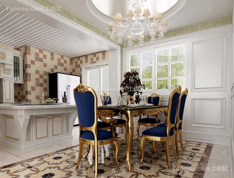 新古典风格140平米三室两厅新房装修效果图