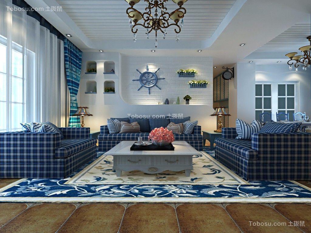 地中海风格110平米三室两厅?#36335;?#35013;修效果图