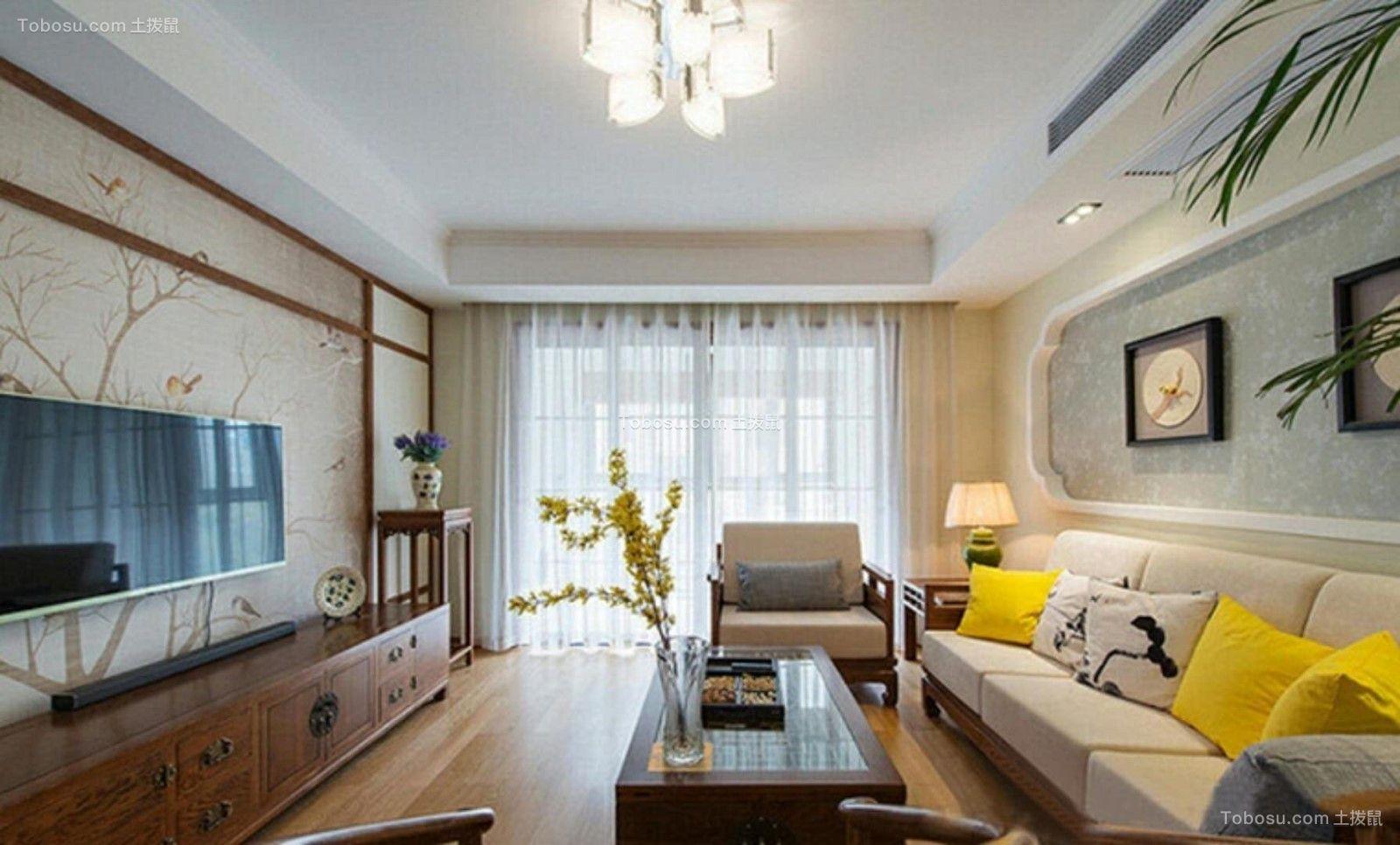 新中式风格120平米两室一厅新房装修效果图
