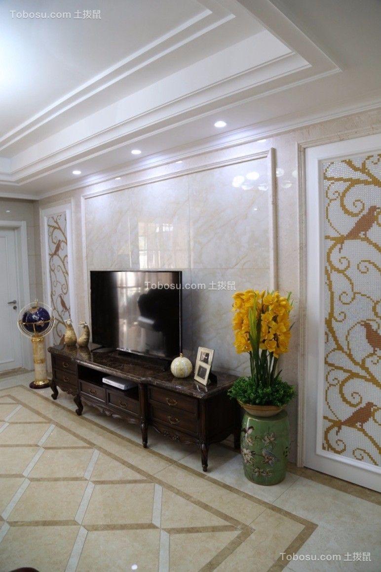 美林湖130平美式风格三居室装修效果图案例