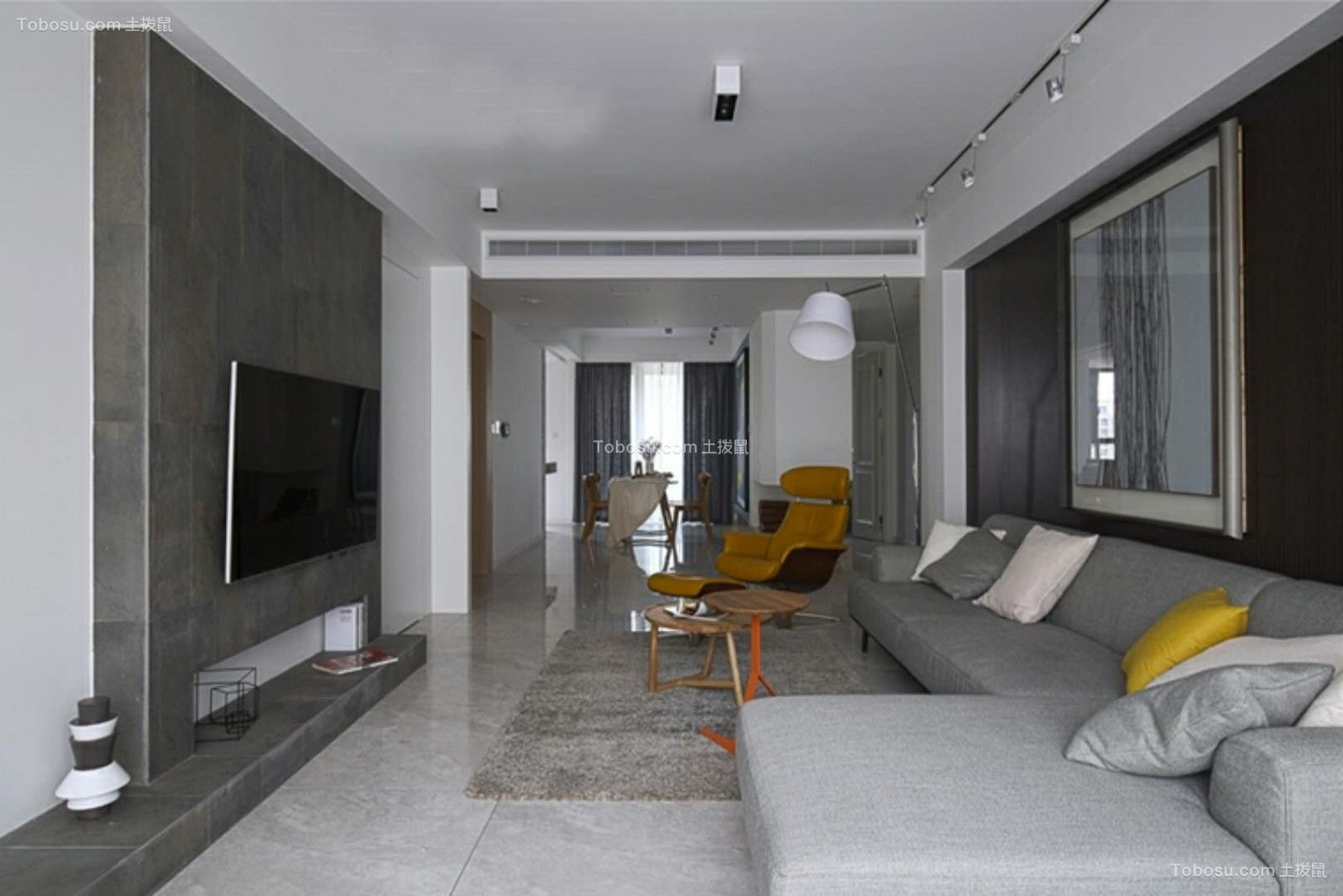 简约风格120平米两室两厅新房装修效果图
