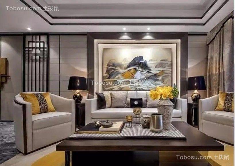 常州世贸香槟湖100平米新中式风格两室一厅装修效果图