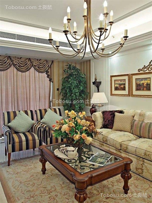 客厅黄色背景墙乡村风格装修图片