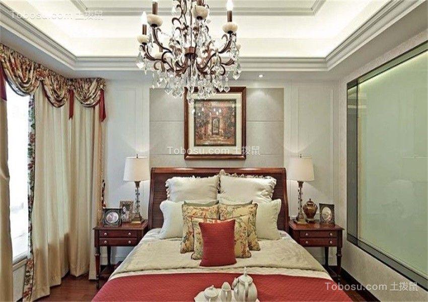 卧室米色床乡村风格装修设计图片