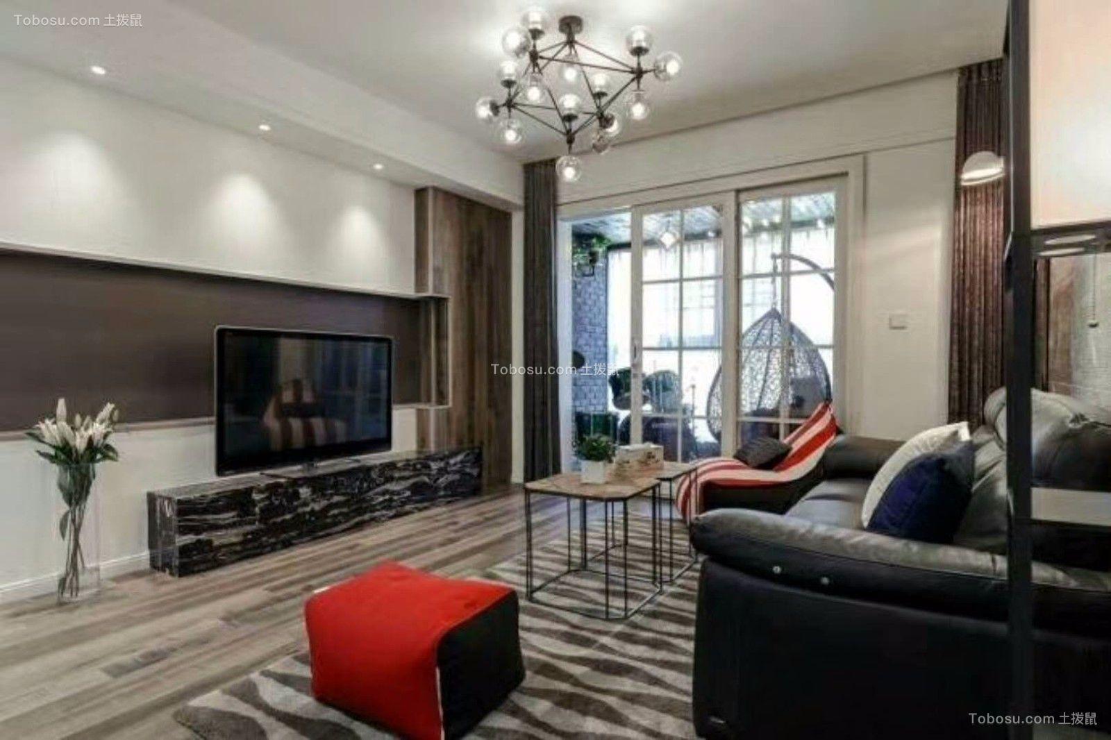 现代简约风格95平米两室两厅新房装修效果图