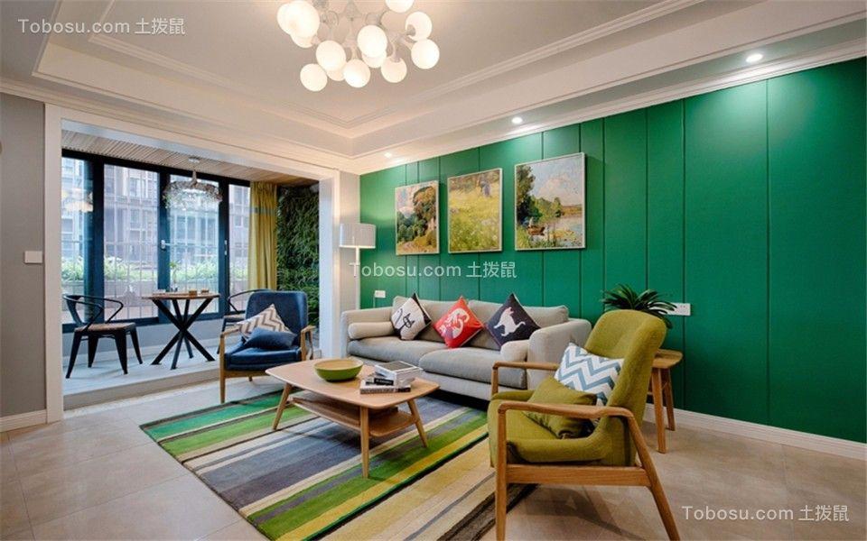 客厅灰色沙发北欧风格装饰图片