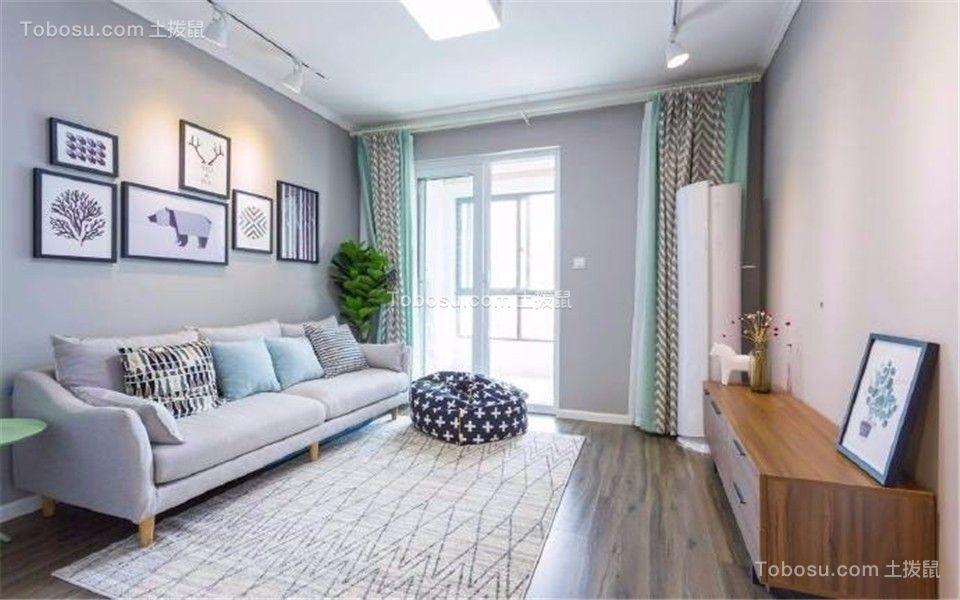 客厅灰色沙发现代简约风格装饰图片