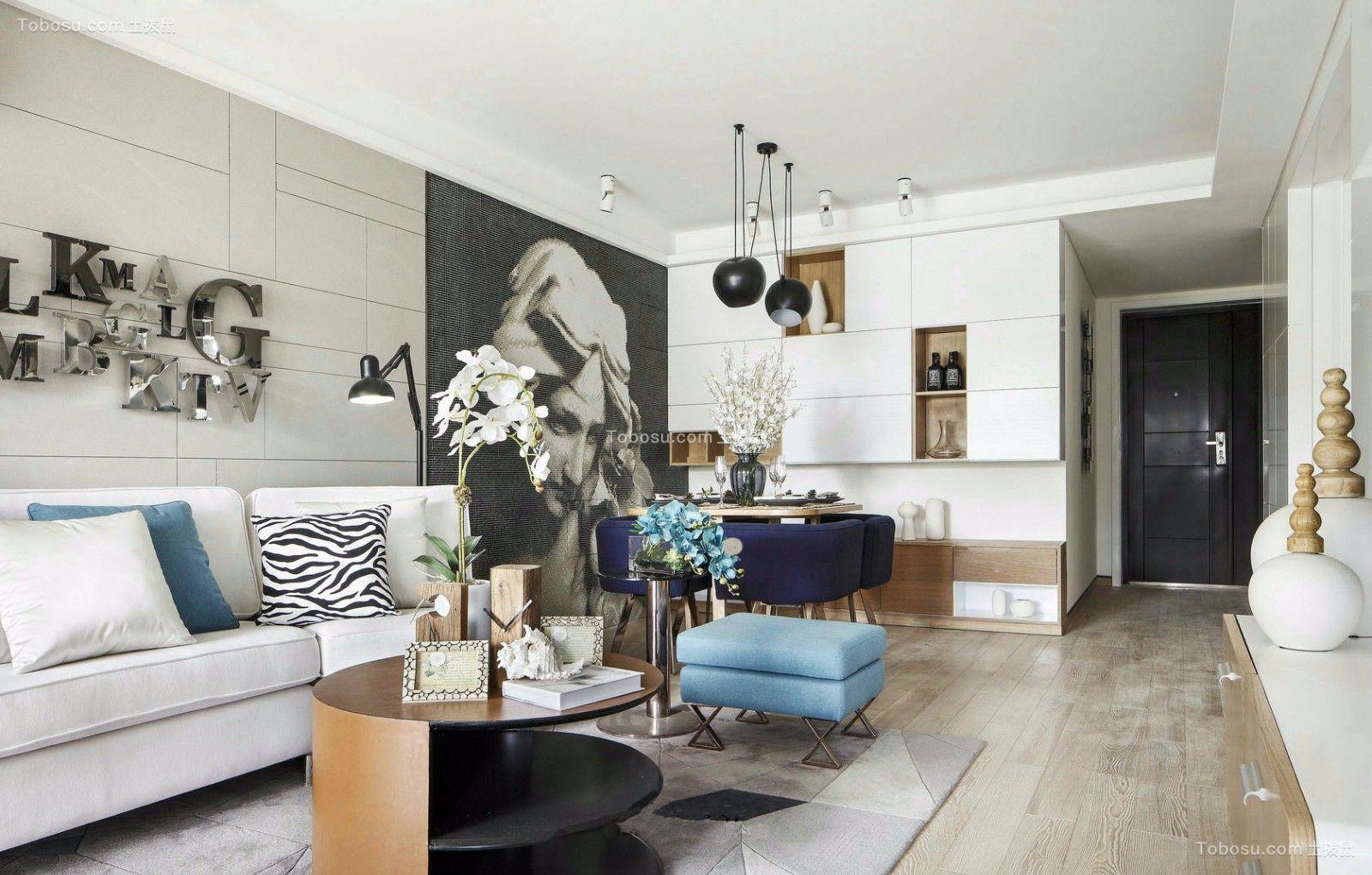 客厅白色沙发现代简约风格装饰设计图片