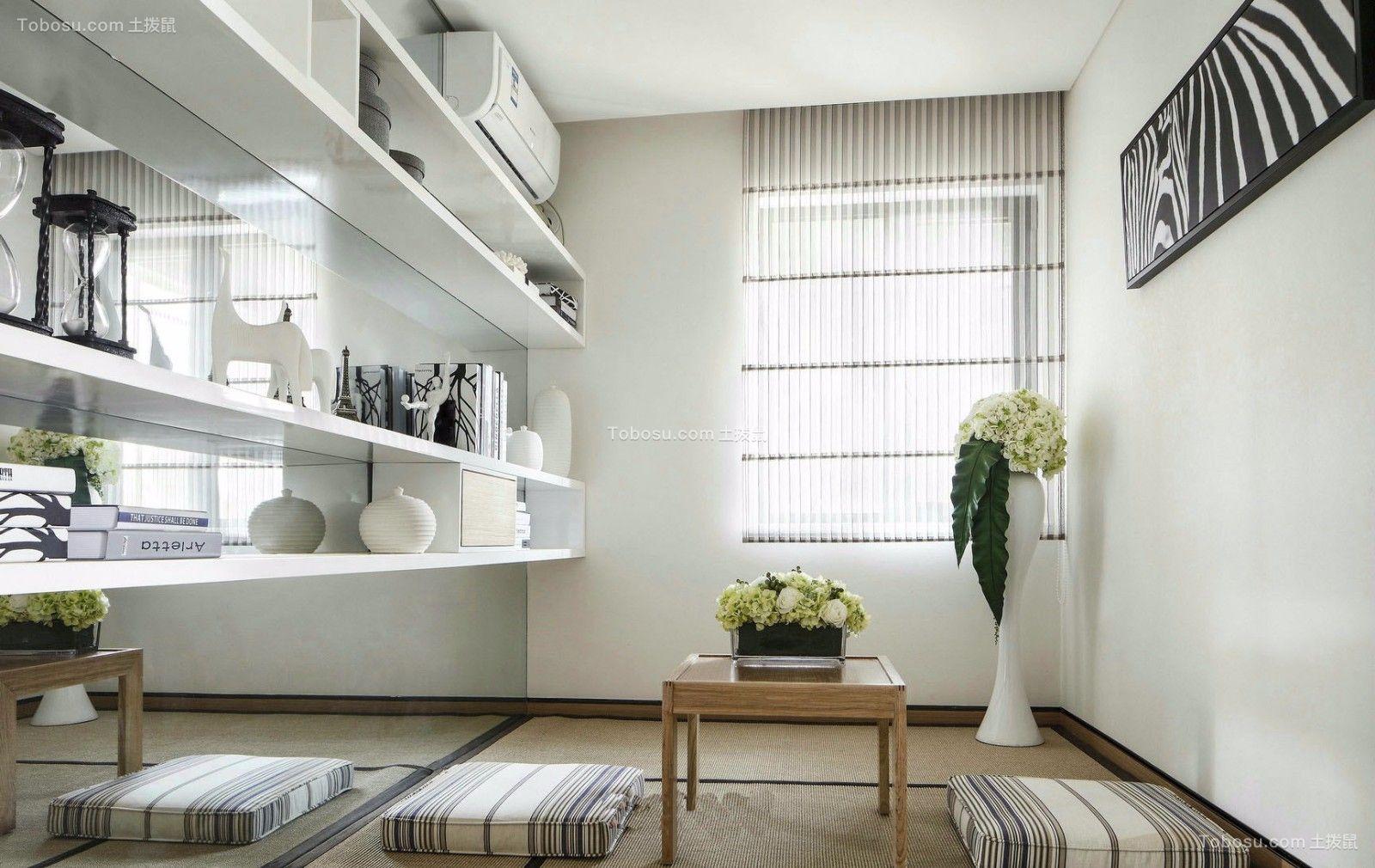 书房白色书架现代简约风格装修图片