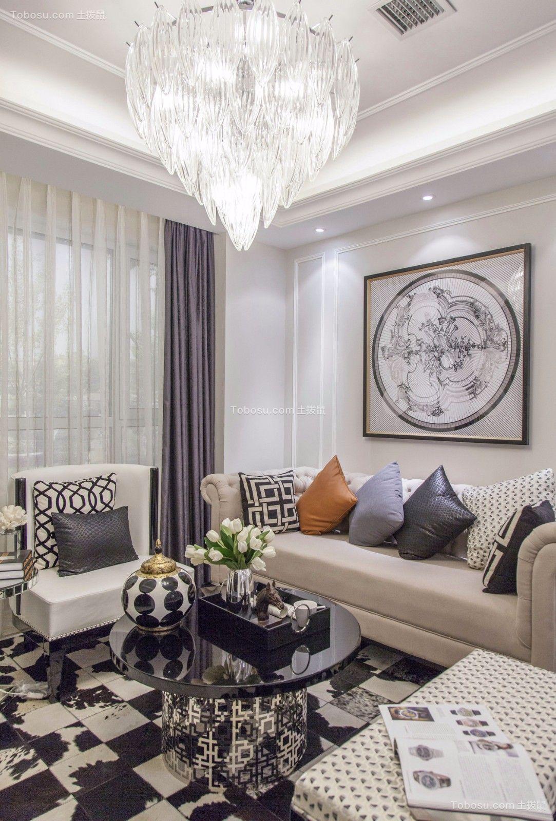 客厅咖啡色沙发简欧风格装潢效果图