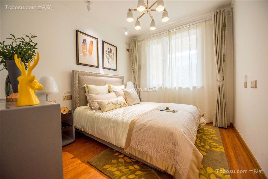 卧室咖啡色床北欧风格装修设计图片