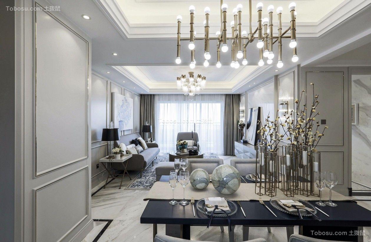 客厅灰色窗帘简欧风格装饰效果图