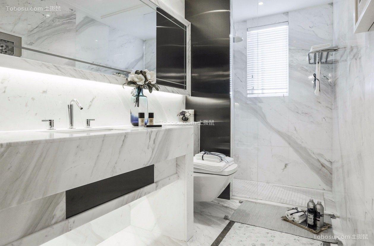 卫生间白色洗漱台简欧风格装潢图片