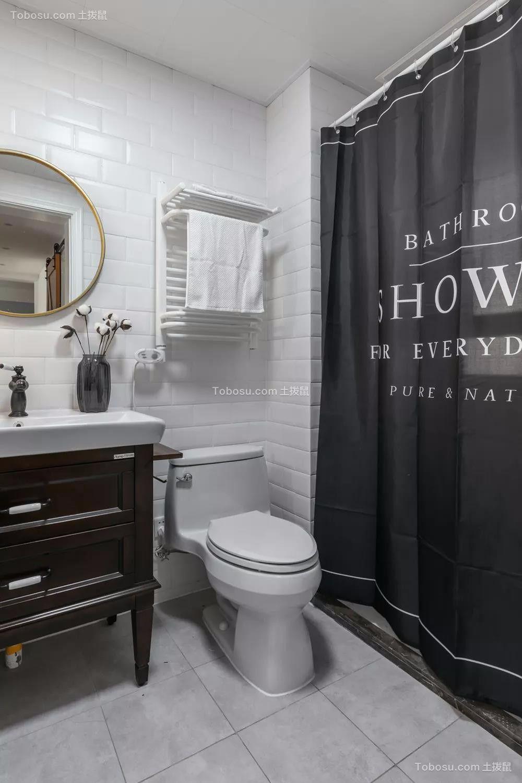 卫生间黑色洗漱台北欧风格装修效果图
