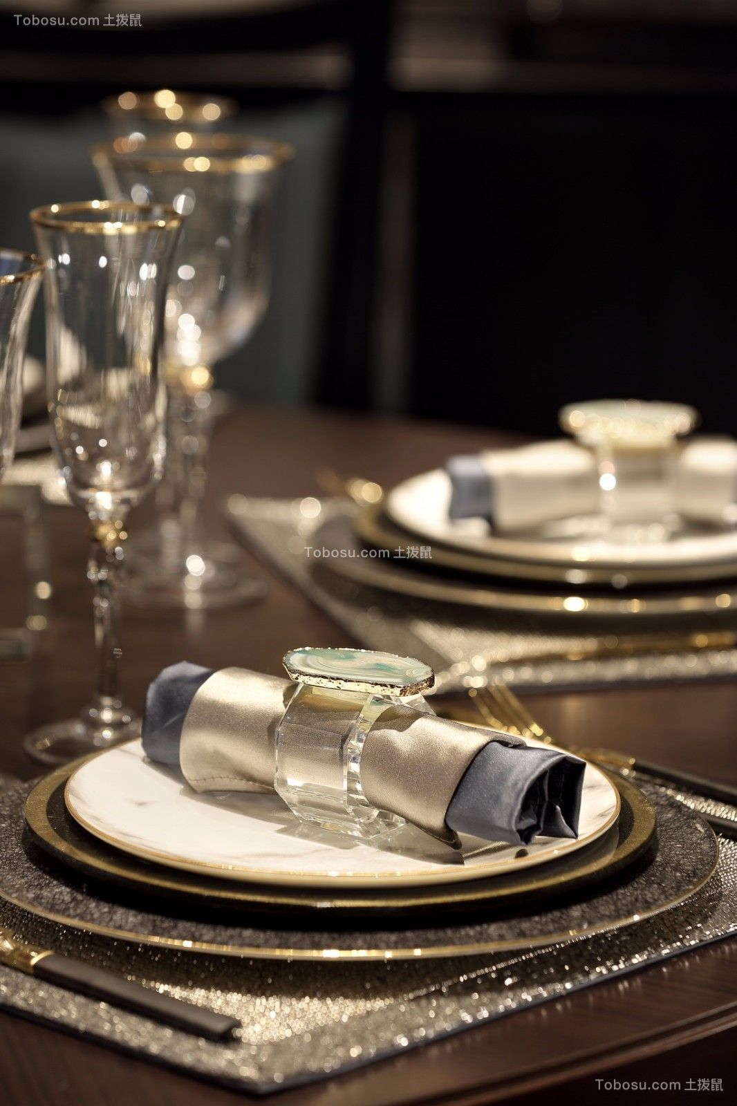 餐厅黄色细节新中式风格效果图