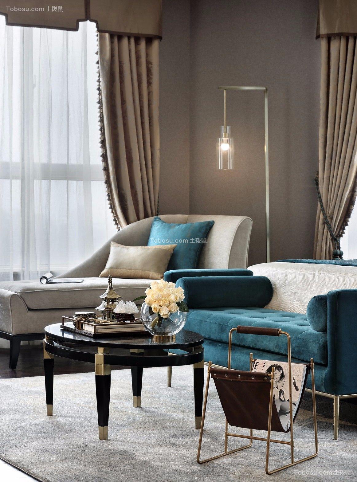 卧室咖啡色窗帘新中式风格装饰效果图