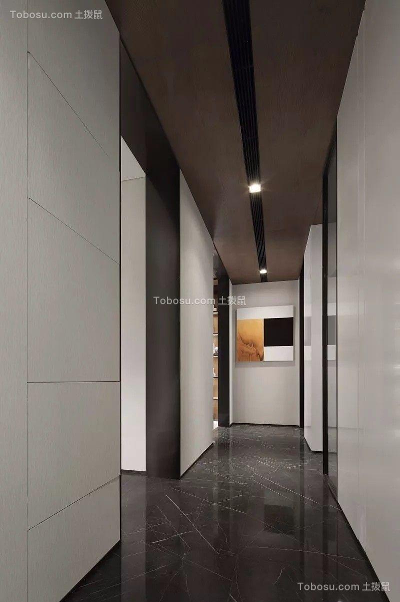 客厅黑色走廊现代简约风格装修设计图片