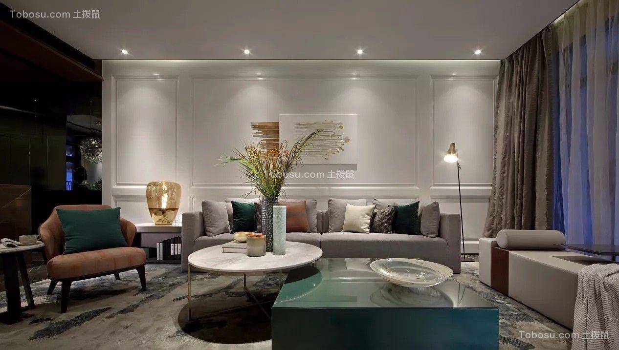客厅白色现代简约风格装潢设计图片