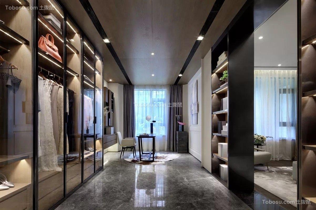 衣帽间黑色衣柜现代简约风格装潢图片