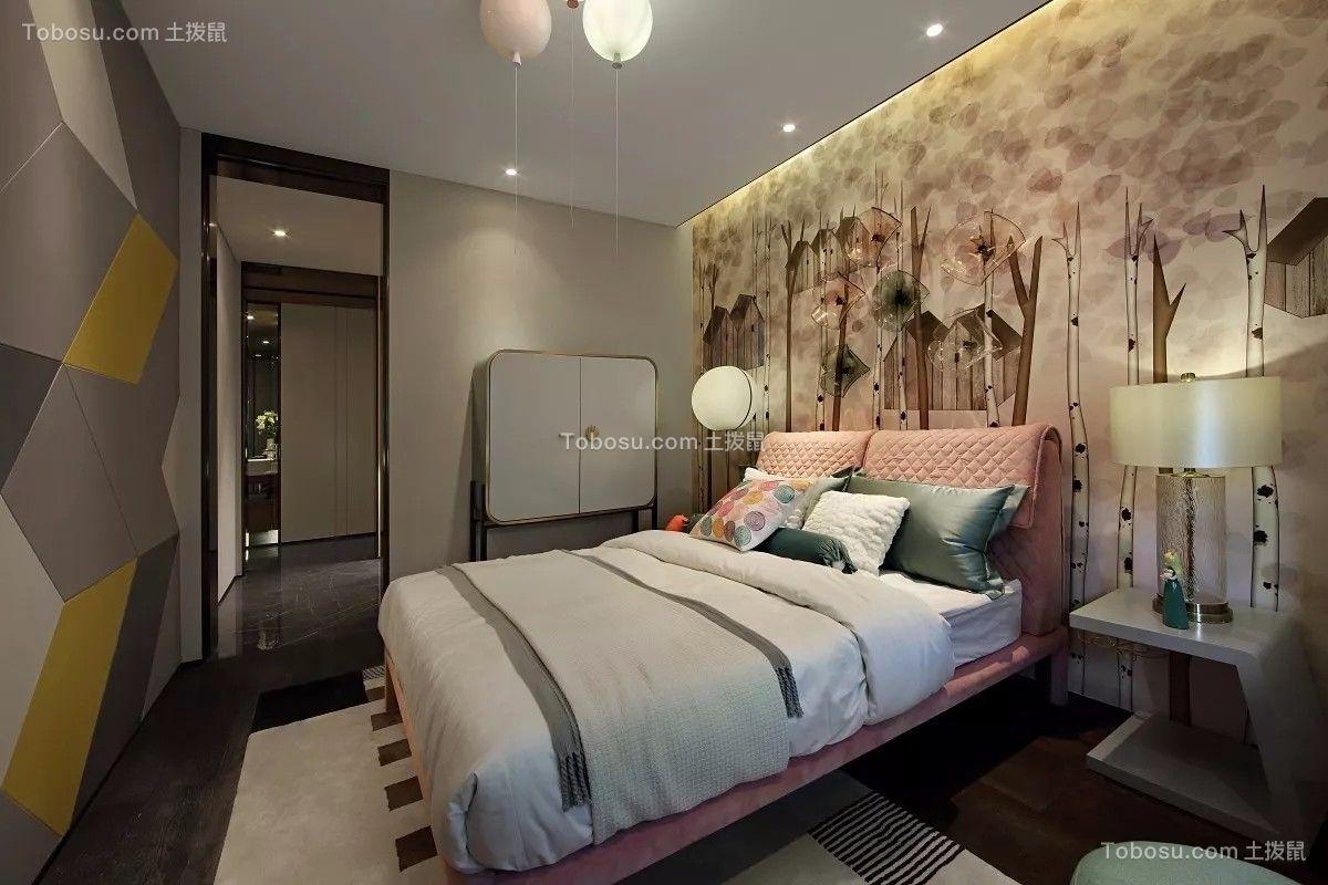 儿童房粉色床现代简约风格装饰设计图片