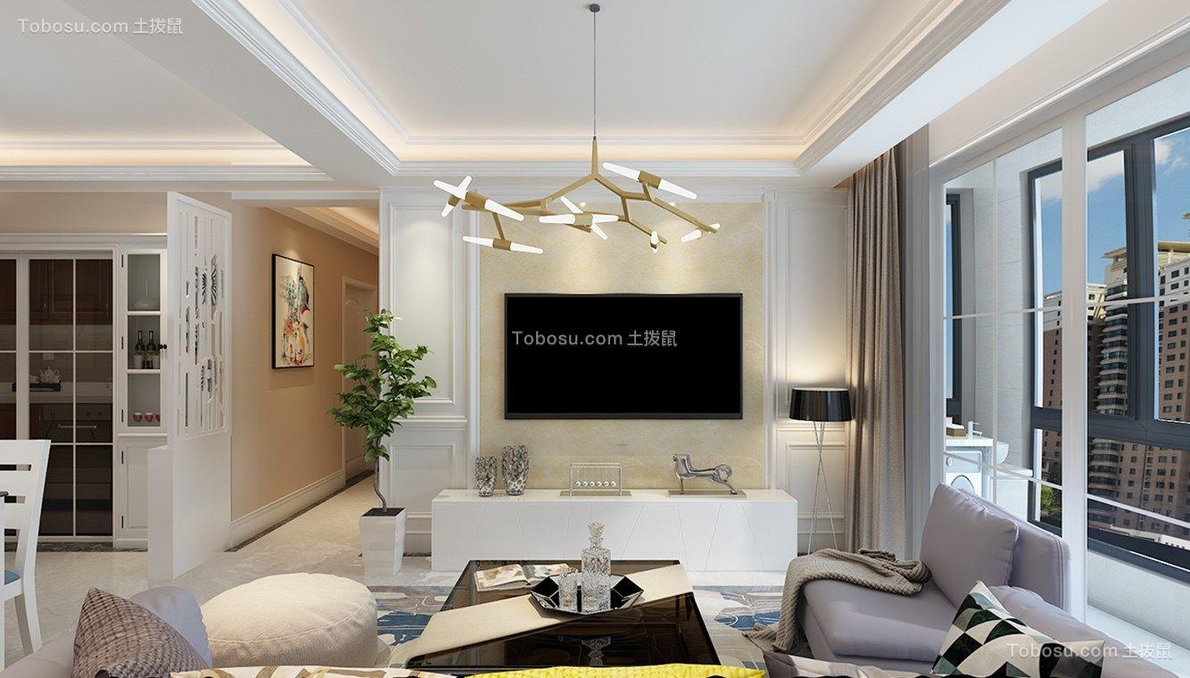 客厅白色电视柜北欧风格效果图图片