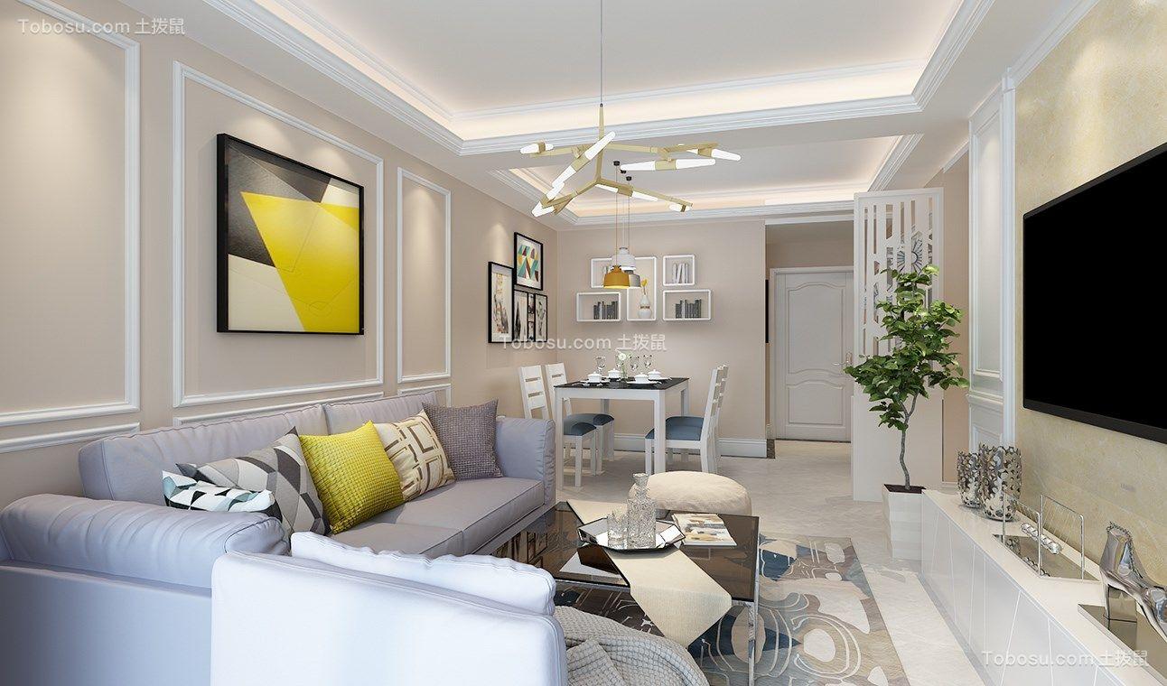 客厅黄色吊顶北欧风格装修效果图图片