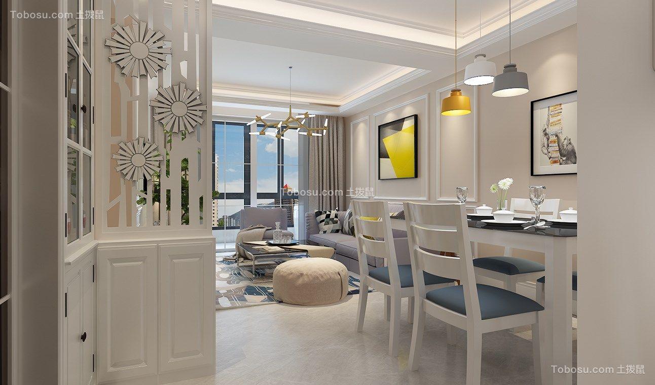 客厅白色电视柜美式风格装修效果图图片