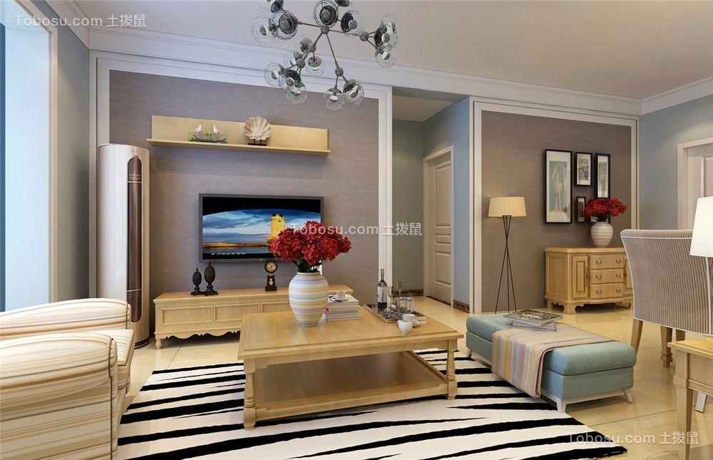 客厅黄色茶几美式风格装潢效果图