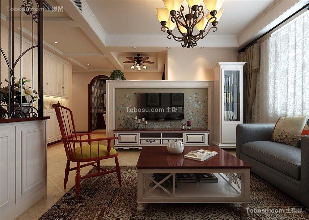 2019美式客厅装修设计 2019美式电视柜装修图片