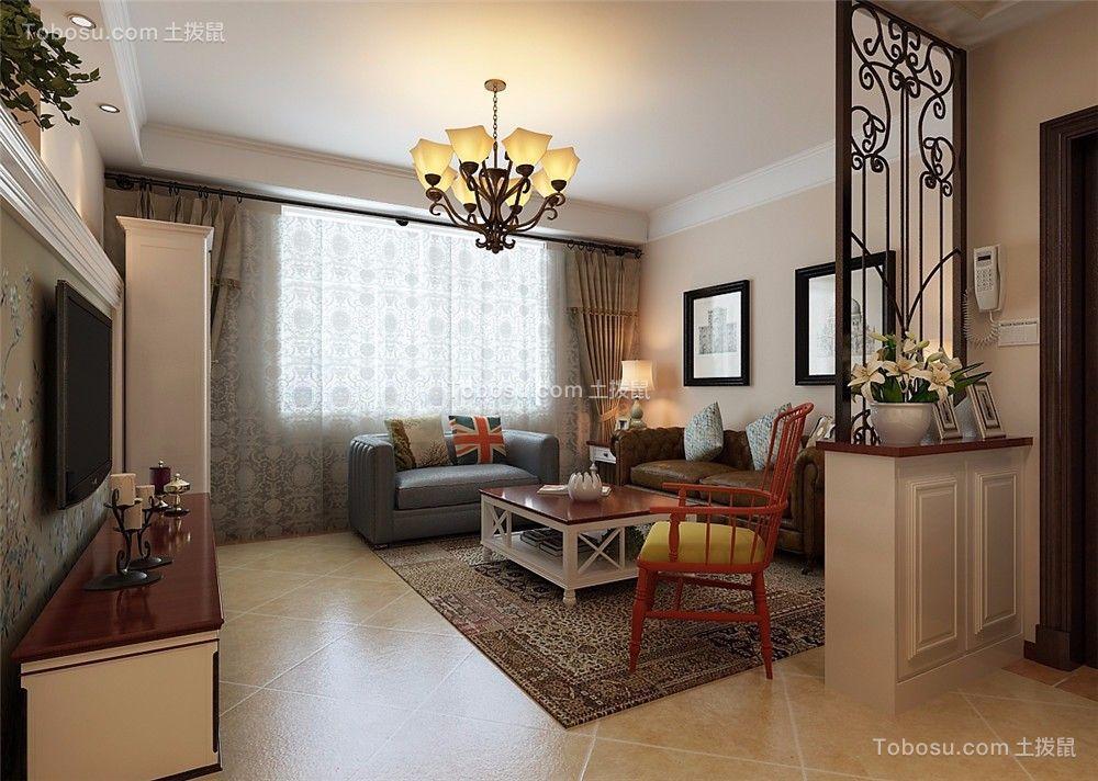 客厅米色落地窗美式风格装饰图片