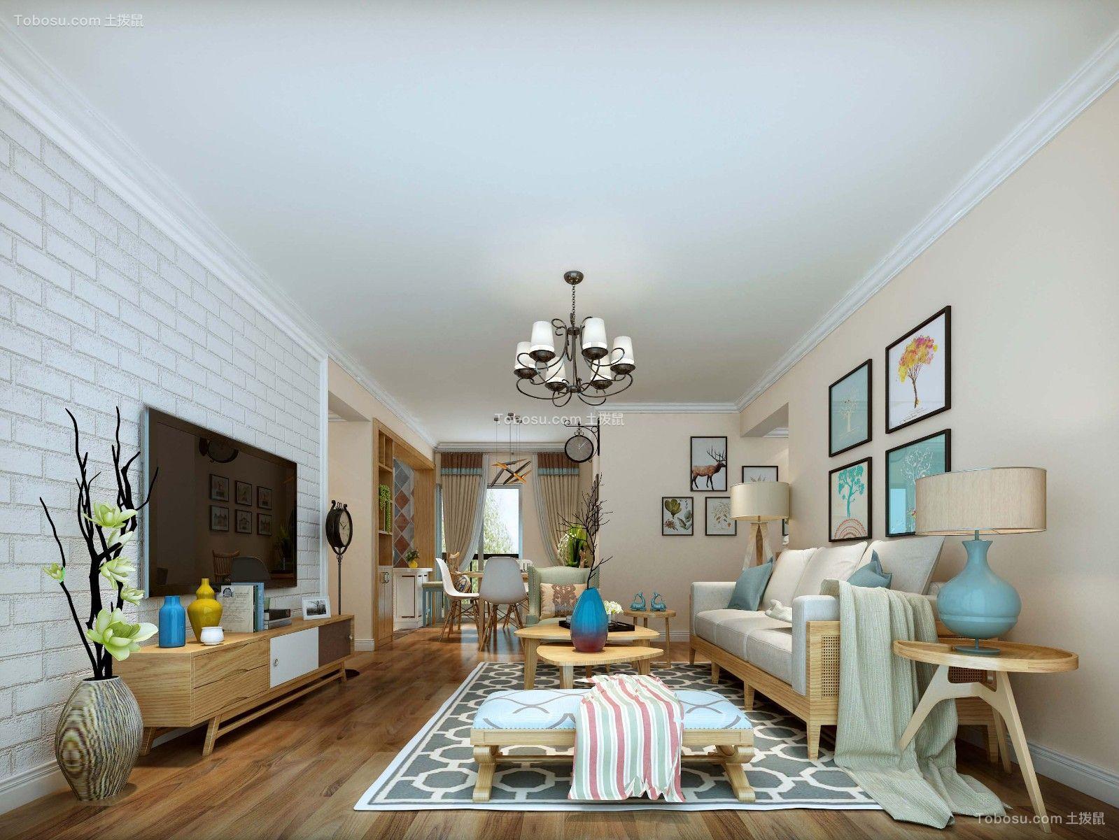 简欧风格96平米三室两厅新房装修效果图