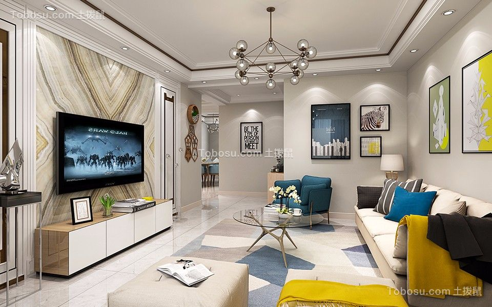 86平米二居室现代简约风格装修效果图