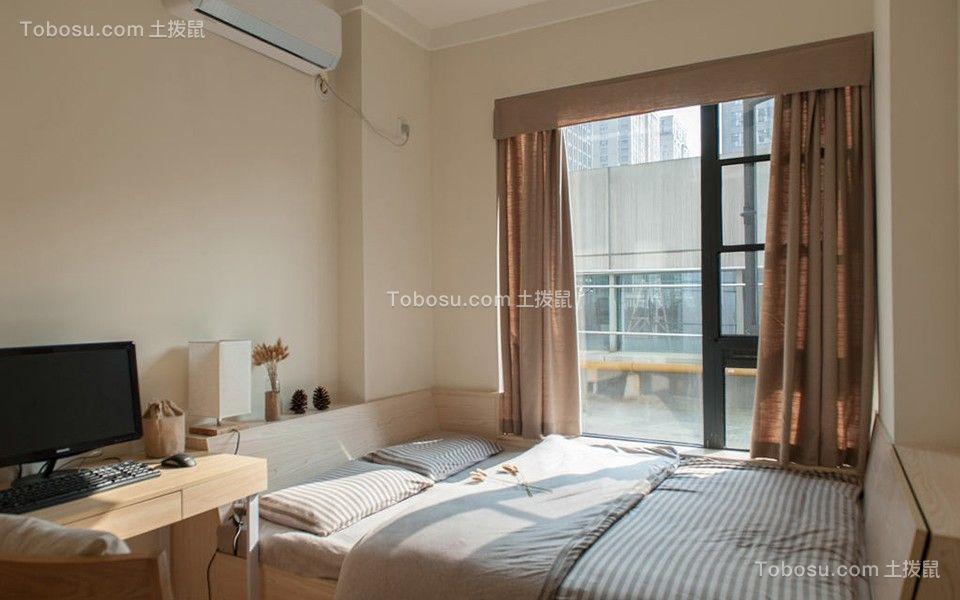 卧室咖啡色窗帘日式风格装饰设计图片