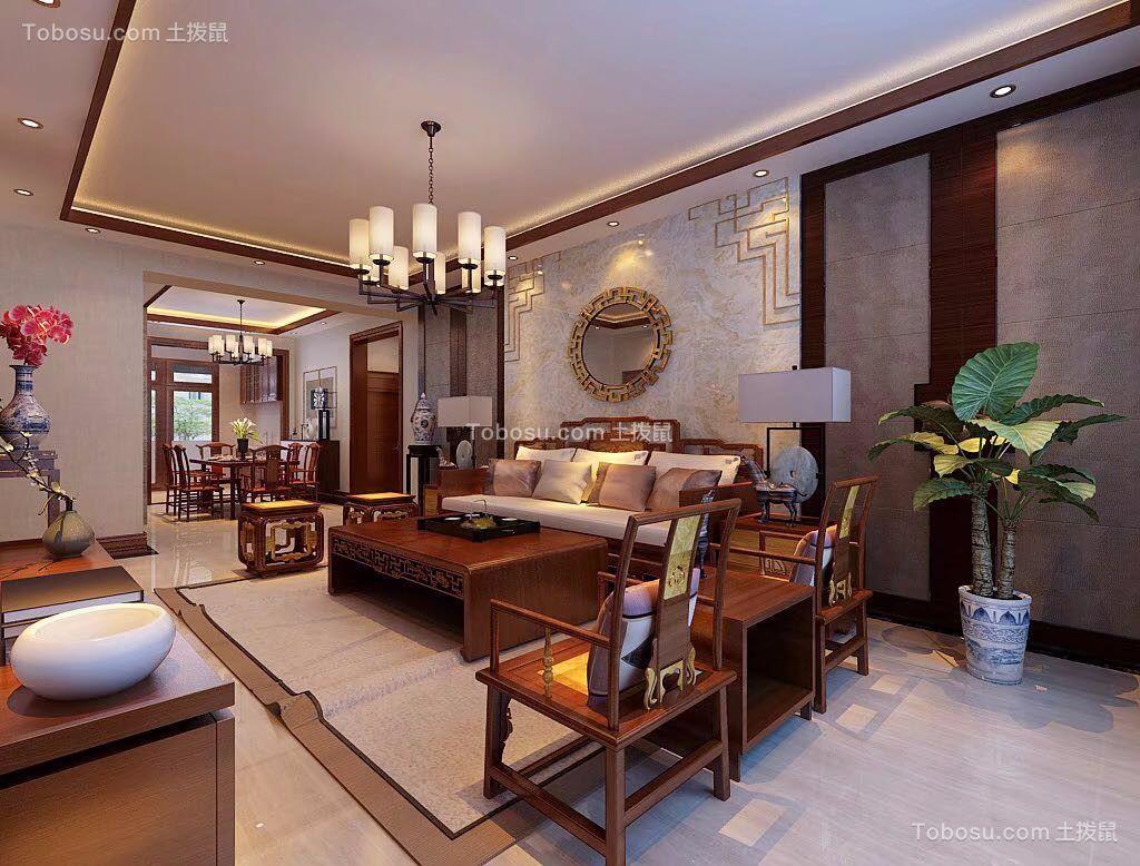 客厅白色灯具中式风格装修设计图片