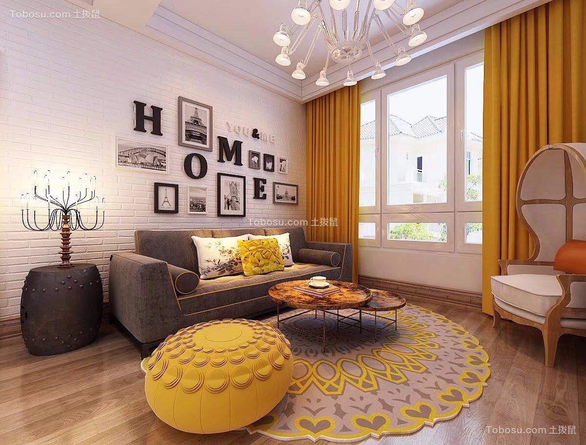 客厅灰色沙发现代简约风格装潢效果图