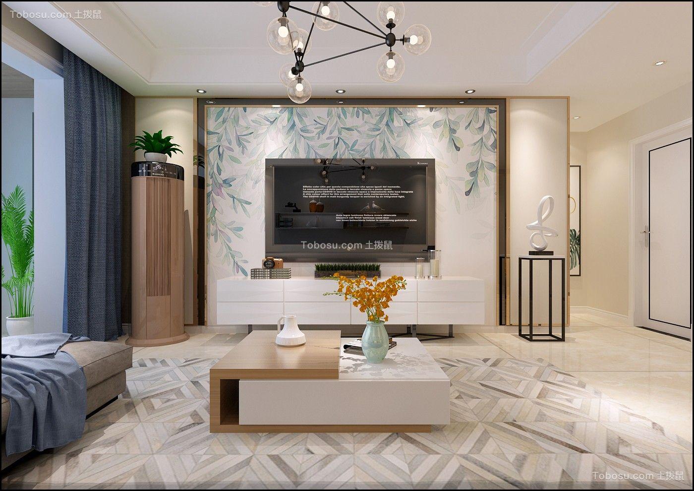 客厅白色电视背景墙现代简约风格装饰图片
