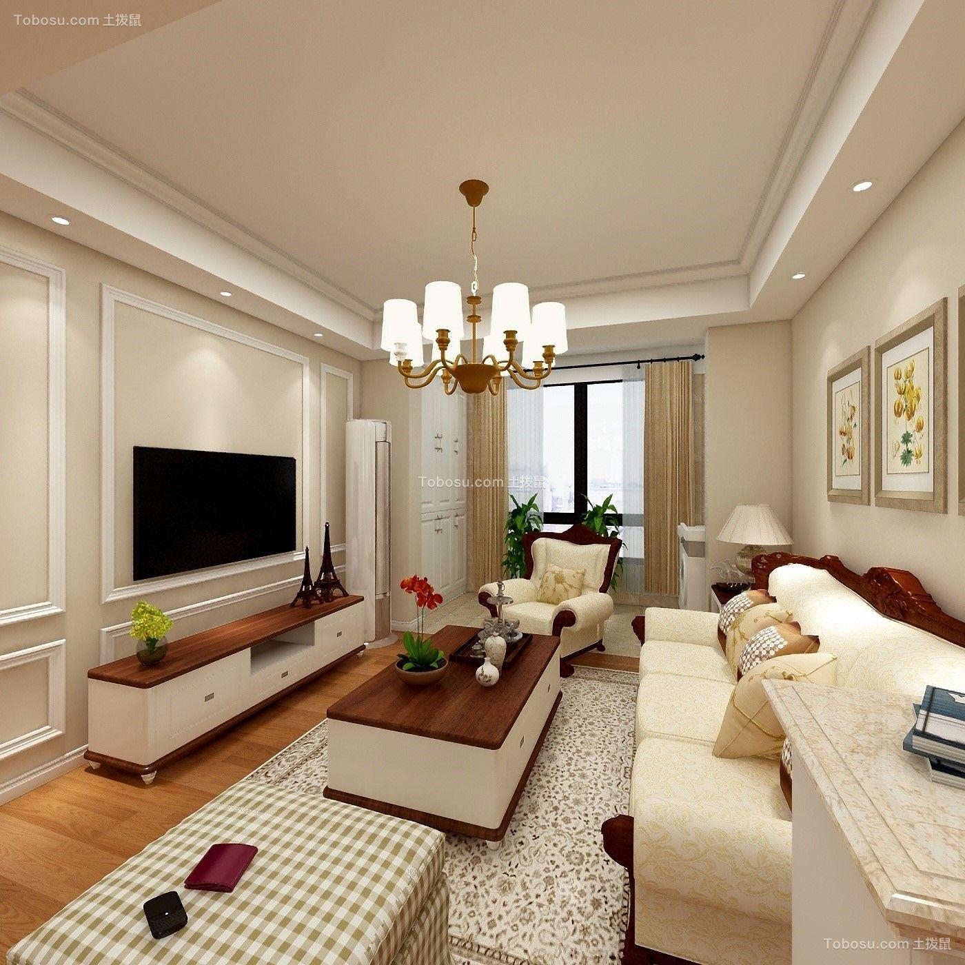 混搭风格61平米公寓室内装修效果图