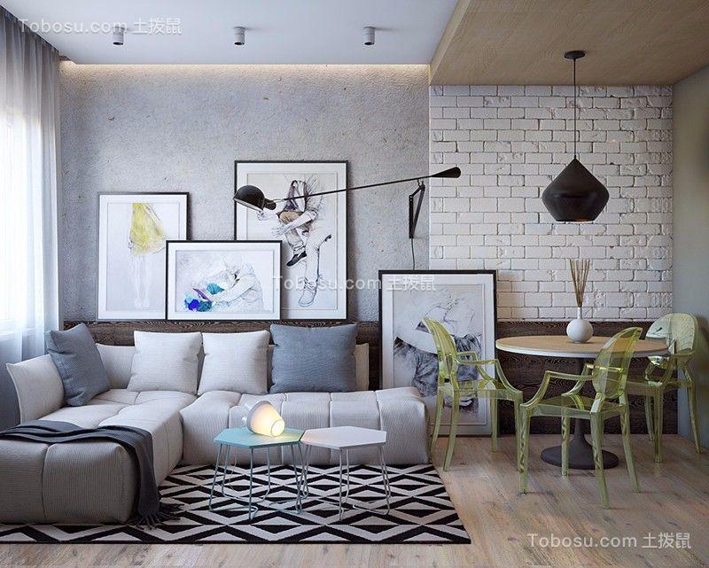70平简约风格两居室装修效果图