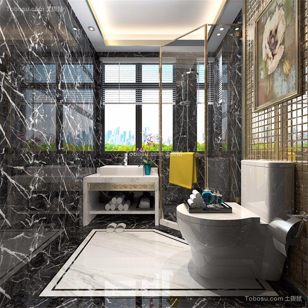 卫生间 洗漱台_新中式风格800平米别墅新房装修效果图