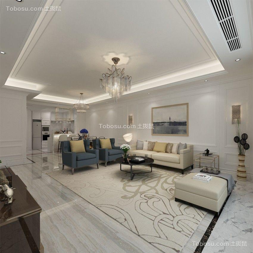 客厅茶几简欧风格装潢图片