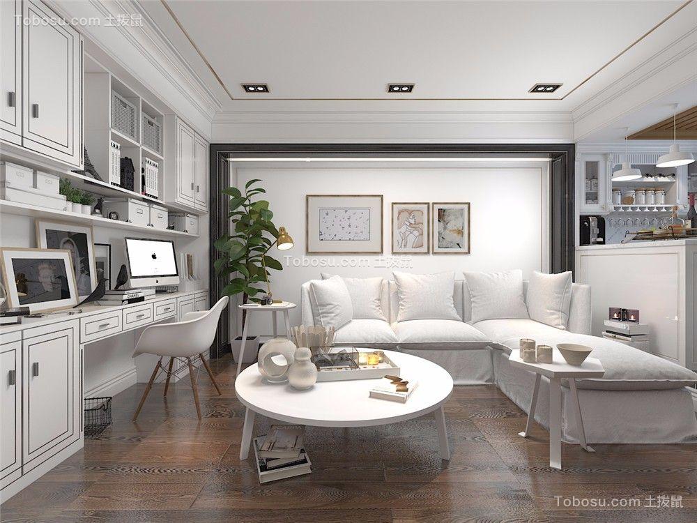 简欧风格89平米两室两厅新房装修效果图图片