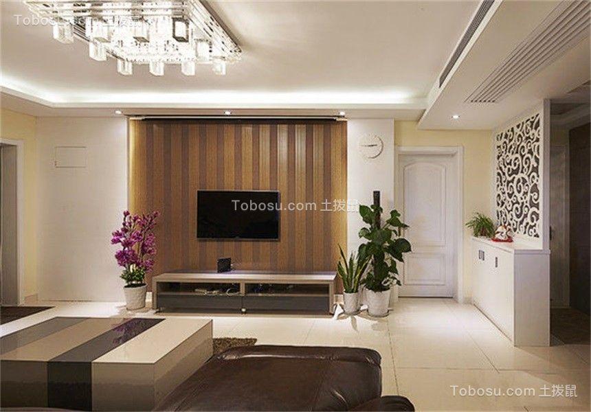 客厅咖啡色电视背景墙简欧风格装修设计图片