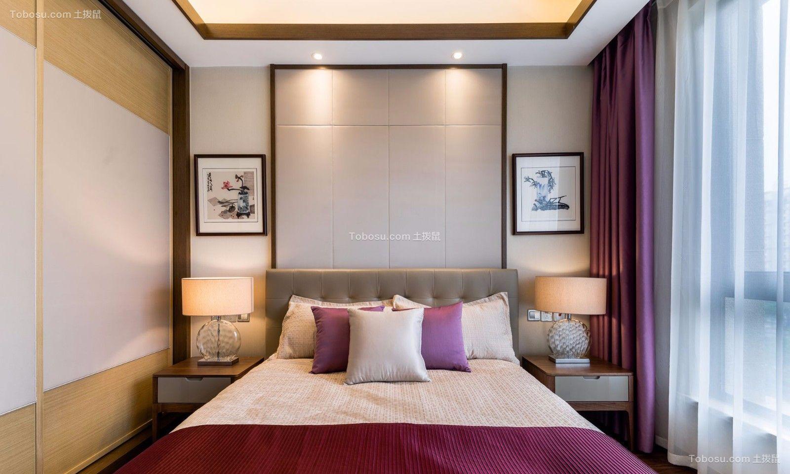 卧室_中国风的新中式风格90平三居室效果图