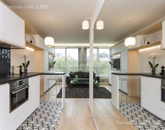 50平一居室现代风格装修效果图