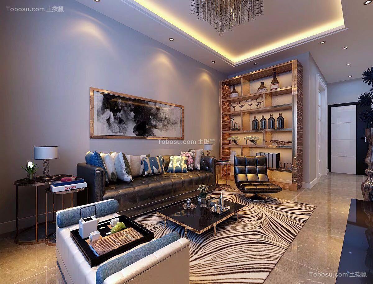 92㎡轻奢风两室两厅室内装修效果图